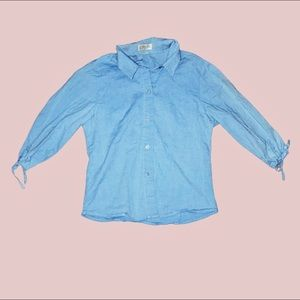 Blue Adolfo Button-Down Collar Shirt (Junior L)